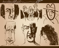 People faces cartoon sketch drawings set Stock Image
