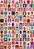 People faces collage. People faces vector set. Collage of closeup portraits Stock Images