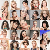 People faces. Digital composite of faces different fashion glamour young women stock photo