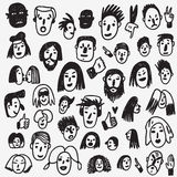 People faces doodles Stock Images