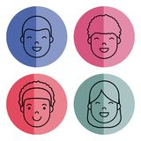 People faces icon. Over colorful circles and white background vector illustration Royalty Free Stock Image