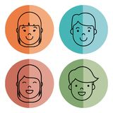 People faces icon. Over colorful circles and white background vector illustration Stock Photo