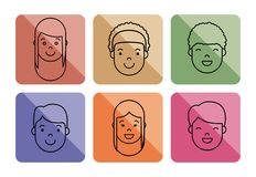 People faces icon. Over colorful squares and  white background vector illustration Stock Image