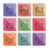 People faces icon. Over colorful squares and  white background vector illustration Stock Photos