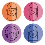 People faces icon. Over colorful circles and white background vector illustration Stock Images