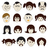People  Faces Icons - Illustration Royalty Free Stock Photography