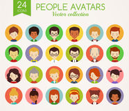 People faces. Set of round vector avatars. Set of cute avatars in colorful circles. Male and Female faces. Diverse type of people with different nationalities Royalty Free Stock Photos