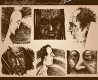 People faces sketch drawings set Royalty Free Stock Image