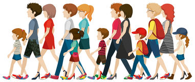 People without faces walking Royalty Free Stock Photo