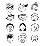 People facial cartoon expression  icon Royalty Free Stock Photos