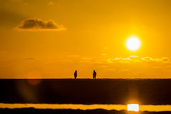 People facing each other on beach in golden light at sunset Royalty Free Stock Image