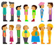 People Facing Each Other Cartoon Characters Royalty Free Stock Images