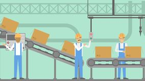 People at factory. People at factory working at the production line Royalty Free Stock Image