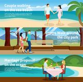 People Fall In Love Banner Set Royalty Free Stock Photo