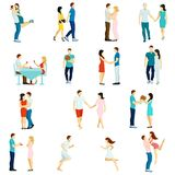 People Fall In Love Icon Set Stock Photo