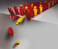 People falling down as in domino effect Stock Photo