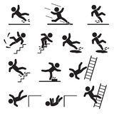 People falling or slipping icon set. Vector. Eps10 Royalty Free Stock Photo
