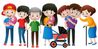 People in the family with different ages Royalty Free Stock Images