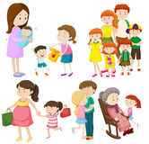 People in family at different generations. Illustration Stock Photos