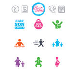 People, family icons. Swimming, baby signs. Stock Photography