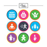 People, family icons. Swimming, baby signs. Royalty Free Stock Photo