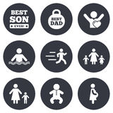 People, family icons. Swimming, baby signs Royalty Free Stock Image