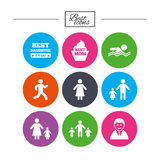 People, family icons. Swimming, person signs. Royalty Free Stock Photography