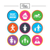 People, family icons. Swimming, person signs. Royalty Free Stock Images