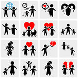 People Family Pictogram. Set web icon Royalty Free Stock Photos