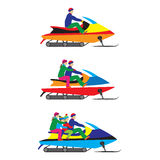 People, family on a Snowmobile. Winter sports. Stock Image