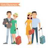 People and family traveling on vacation. Family travel. Father mother, son and daughter at the airport. Vector illustration in a flat style Royalty Free Stock Photography