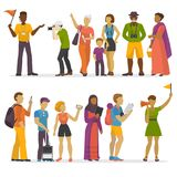 People family traveling on vacation traveler characters happy trip journey couple vector illustration. Stock Photography
