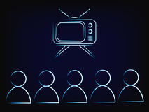 People or family watching tv, retro style Stock Photography