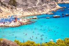 People at the famous beach of Konnos Bay beach near Protaras, Ay Stock Photography