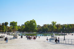 People in famous Tuileries garden in Paris Stock Photo