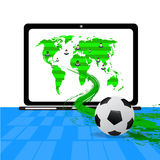 People fan football global and soccer field on notebook with soccer ball move out from screen,. Stock Images