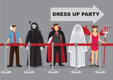 People in Fancy Costumes Waiting in Line for Dress Up Party Cart. People in fancy costumes as different characters waiting in behind queue barrier for dress up Royalty Free Stock Photography