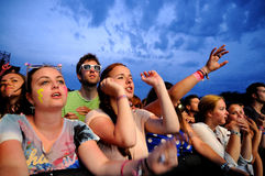 People (fans) watch a concert of their favorite band at FIB (Festival Internacional de Benicassim) 2013 Festival Stock Photography