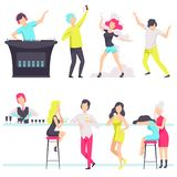 People in fashionable clothes resting and drinking cocktails at the nightclub, bartender mixing cocktails at the bar vector illustration
