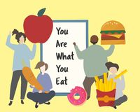 People with fatty junk food illustration Vector Illustration