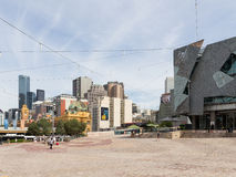 People at Federation Square, Melbourne Royalty Free Stock Photo