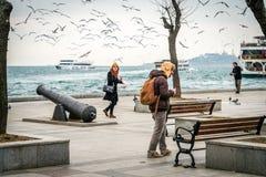 People feeding birds near Bosphorus in Istanbul, Turkey Royalty Free Stock Photos
