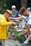 People feeding Native Australian Rainbow Lorikeet in Queensland Australia stock photography