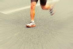 People feet on city road in marathon running race Royalty Free Stock Photos