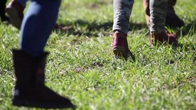People feet walking on a green grass stock video footage