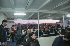 People on a ferry in Naples Stock Image