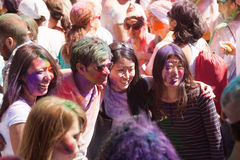 People at Festival of colors Holi Barcelona Royalty Free Stock Image
