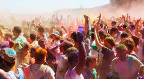People at Festival of colors Holi Barcelona Stock Photography