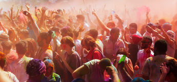 People at Festival of colors Holi Barcelona Royalty Free Stock Photos