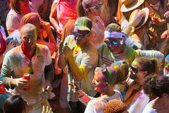 People at Festival of colours Holi Barcelona Royalty Free Stock Photos